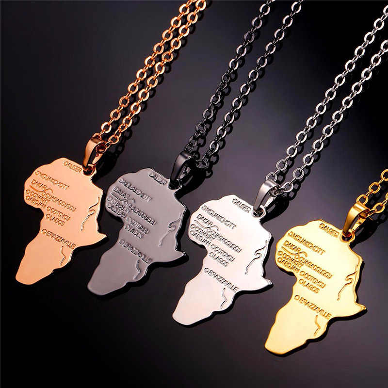 4 Color Trendy Africa Map Shape Pendant Necklace Women's Fashion Jewelry Personalized Alloy Metal Silver Gold Chain Necklaces