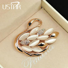 USTAR Lovely Swan brooches for women pins gold color animal rhinestone cameo brooch lapel broche christmas gifts top quality S8(China)