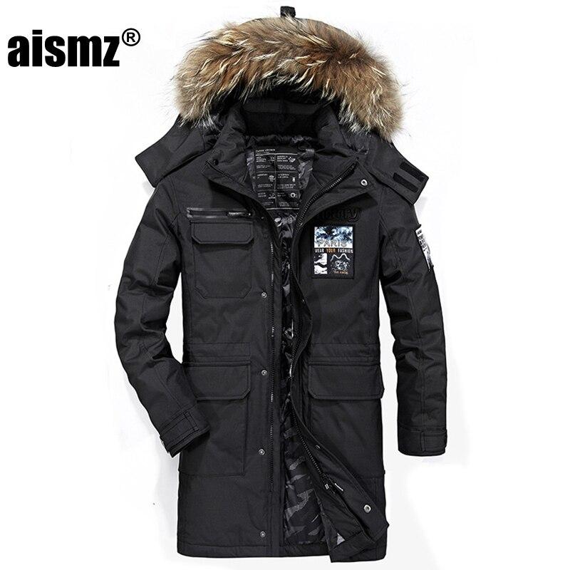 Мужская длинная куртка-пуховик Aismz, белая Повседневная теплая парка с меховым воротником и капюшоном