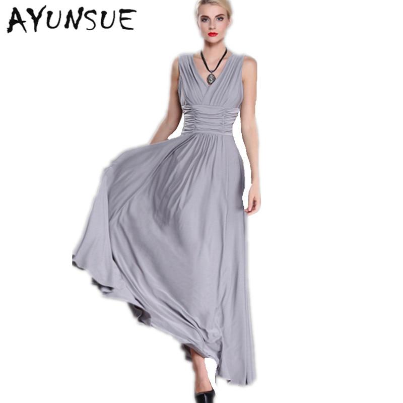 Summer Dress 2018 Maxi Dresses For Women Europe Long Party Dresses Milk  Silk V-Neck 64eb2383888b