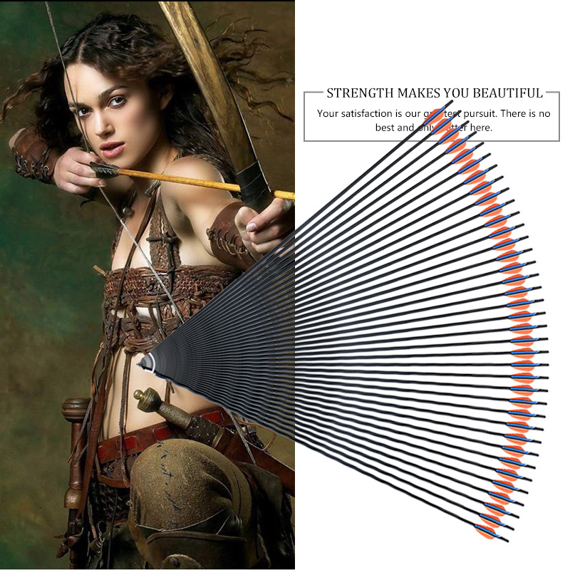 12pcs 30 inch Spine 400 Carbon Arrow for Compound & Recurve Bow Hunting and Archery Shooting Target replaceable arrowheads ...