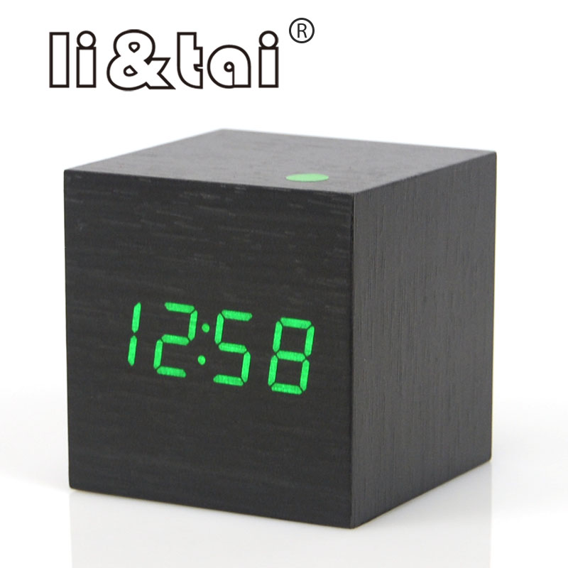 cute cube wooden led alarm clock led display electronic. Black Bedroom Furniture Sets. Home Design Ideas