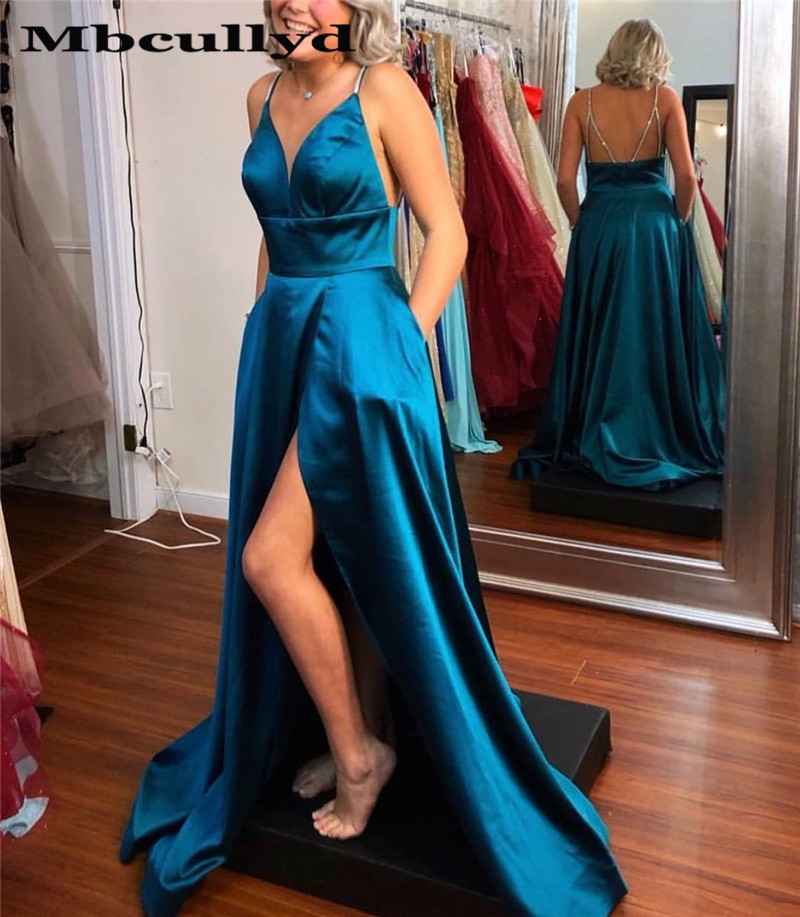 African Prom Dresses Long 2019 Elegant A-line V-Neck Side Split Navy Blue Evening Party Gowns Black Girls Gala Dress Cheap Sale