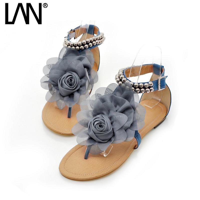 Women Sandals Flower Causal Buckle Strap Faux Leather Women Flip Flops Bohemian Beach Shoes Sexy Sweet