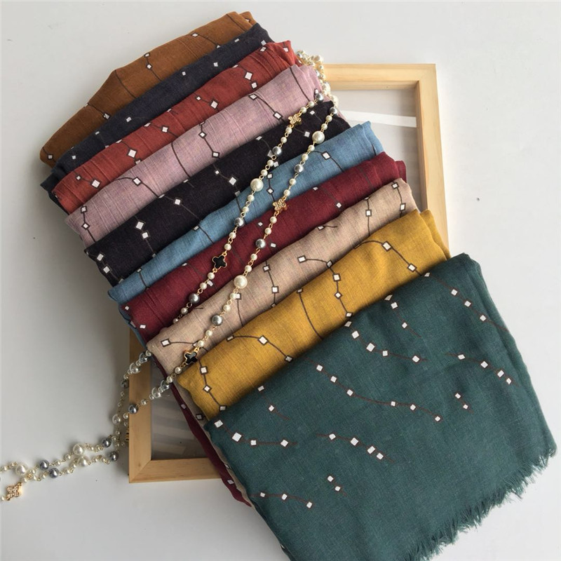Oversize pashmina white mini square pattern line scarves and shawl fringe winter scarf soft muslim print hijab warm wrap 10color