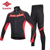 Santic Зима Велоспорт Джерси Набор гоночная профессиональная команда Велосипедная одежда ветрозащитная велосипедная куртка пальто Ropa Ciclismo