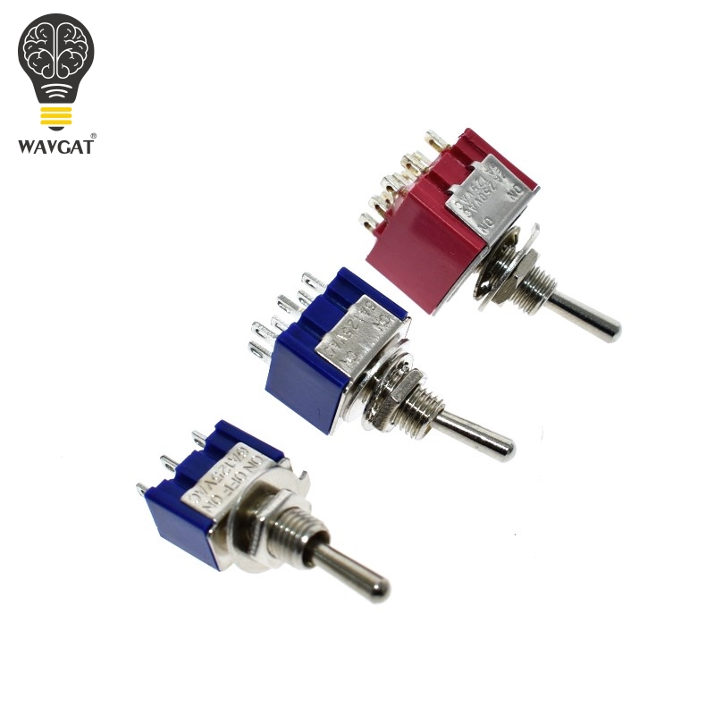 WAVGAT ON-OFF-ON 3 6 9 Pin 3 6 9 Position Mini Latching Toggle Switch 6A 3A MTS-103 MTS-203 MTS-303