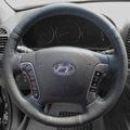 Steering Wheel Leather Cover Case for HYUNDAI Santafe 2006~2012 Genuine Leather Car DIY Hand-stitched Car-styling DIY Black