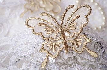 50 pcs gold butterfly applique, metallic gold butterfly lace applique