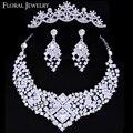 Luxuoso Checa Rhinestone Cristal Conjuntos de Jóias de Casamento Jóias conjunto incluindo Colar Brincos e Tiara Frete Grátis 3TL004