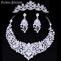 Luxurious Czech Rhinestone Crystal Wedding Jewelry Sets Jewelry set including Necklace Earrings and Tiara Free Shipping 3TL004
