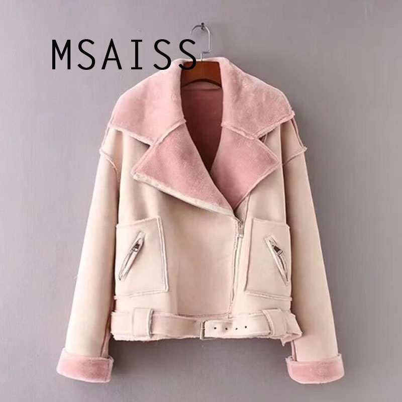 MSAISS 2018 Winter   Suede     Leather   Jacket Women Short Lamb Wool Motorcycle Jacket Thick Lambs Wool Warm Coat