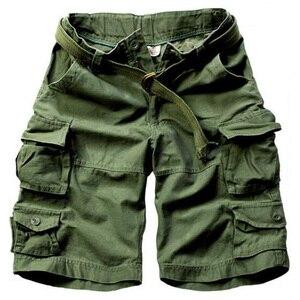 Pantalones cortos militares de camuflaje para hombre, pantalones cortos sueltos de algodón para hombre, pantalones cortos del ejército informal sin cinturón