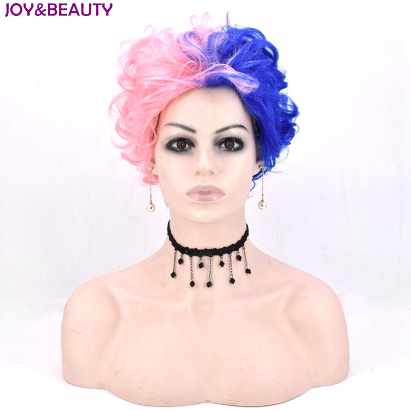 JOY&BEAUTY Pink Blue Short Curly Cosplay Wig Men And Women Wig Synthetic High Temperature Fiber Hair