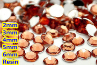 Lt. Peach Kolor 2mm, 3mm, 4mm, 5mm, 6mm Aspekty Płaskie powrót Żywica Rhinestone Gems Nail Art Decoration
