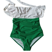 Retro High Waist Bandeau Push Up Lace High Waist Bottom Swimwear