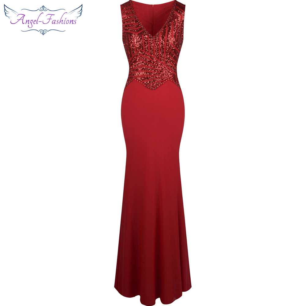 Angel-fashions V Neck Sequin Beaded Mermaid Long   Evening     Dress   Formal Party Red Silver 293