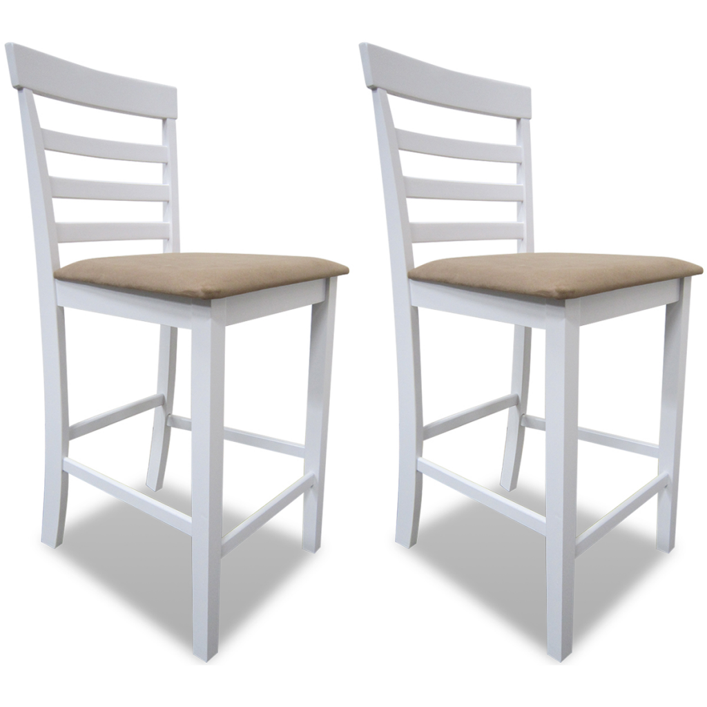 IKayaa 2 Pcs Bar Chairs For Wooden Bar White Beige Bar