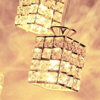 Лампы 1/3 с тремя головками, современная простая лампа с кристаллами, светильник для столовой, модная, оригинальная, Подвесная лампа SJ75