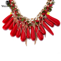 VALEN BELA Red Choker Necklace Brand Europe Jewelry Wholesale Fashion Women Bib Statement Collar Necklace Collier XL1578