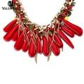 VALEN BELA Red Choker Necklace Brand Europe Jewelry Wholesale Fashion Women Bib Statement Collar Necklace Collier XL1578