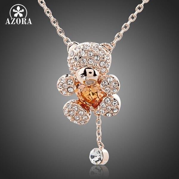 Prix pour AZORA Mignon Fille Rose D'or Couleur Strass et Coeur Forme Zircon Ours Bijoux Collier TN0093