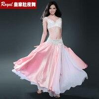 New Silk Imitation Belly Dance Skirt Professional Full Expansion Bellydance Dress Performance Costume Bra Belt Skirt