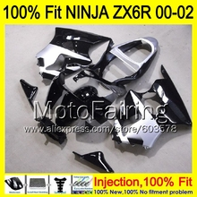 8Gifts Injection mold Body For KAWASAKI NINJA ZX-6R 00-02 1HM44 ZX 6R ZX6R 00 01 02 ZX636 2000 2001 2002 Fairing silver black