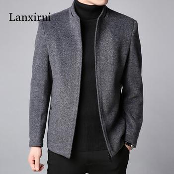 Winter New Fashion Brand Coat Men Slim Fit Wool Peacoat Warm Jackets Blends Overcoat Designer Casual Mens Clothes