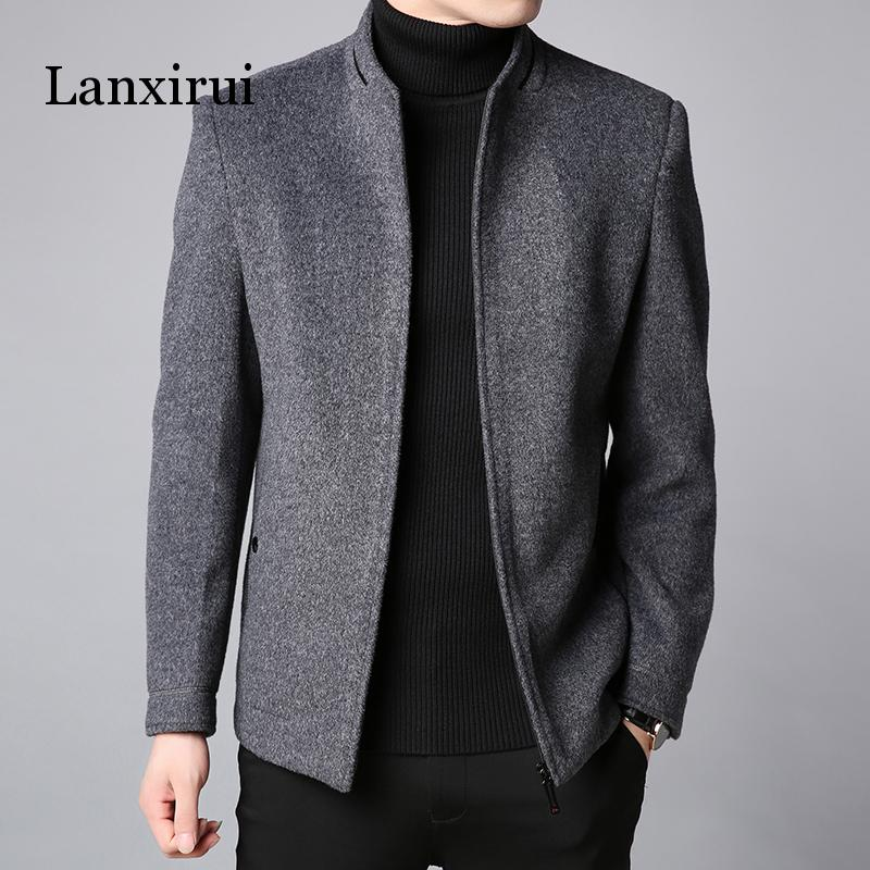 Winter New Fashion Brand Coat Men Slim Fit Wool Peacoat Warm Jackets Wool Blends Overcoat Designer Casual Mens Clothes