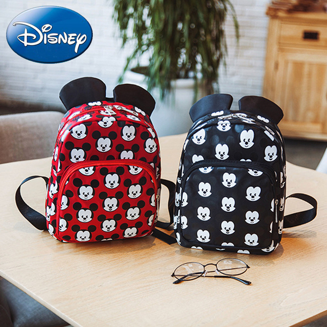 342806cf79b Disney 2019 Minnie Girls Backpack Kids Mickey Mouse School Bag New Cartoon  Children Boy Backpacks Nylon Kindergarten Bags