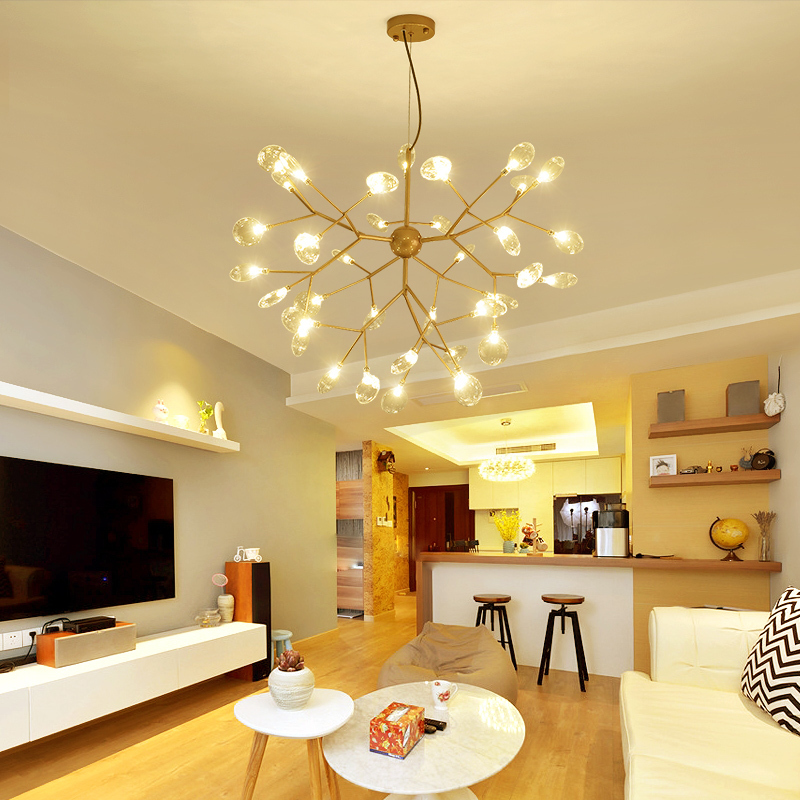 Branche nordique luciole lustre post-moderne simple salle à manger lampe personnalité créative magasin avize moderne salon lustre
