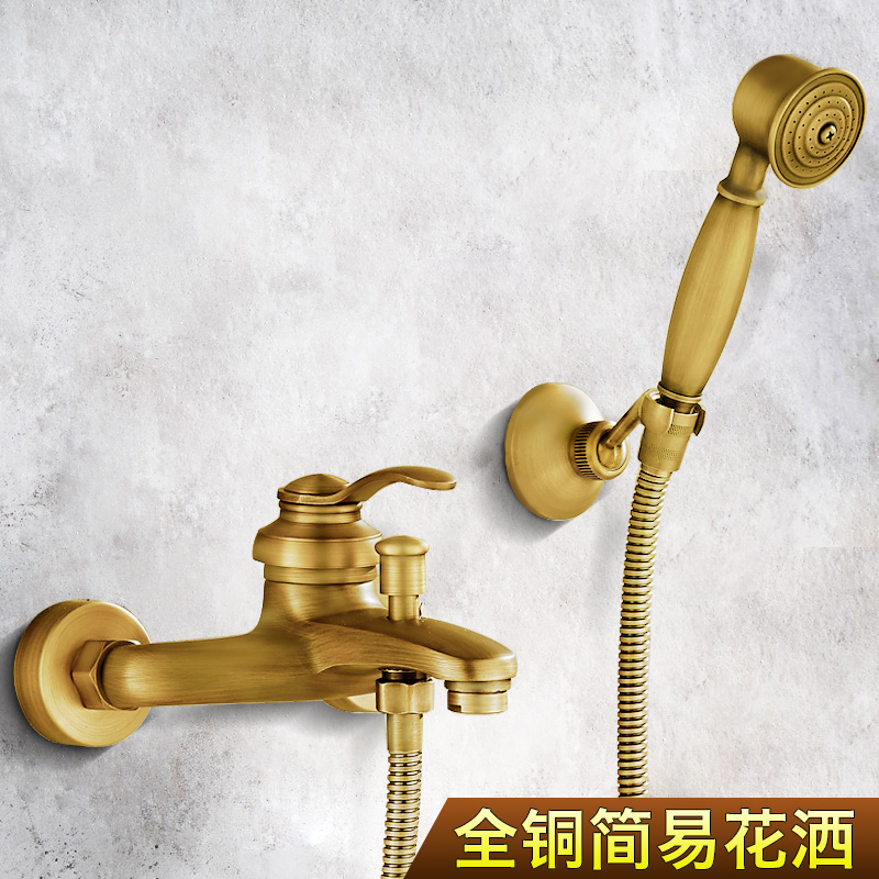 Bathroom Retro antique copper  Brass  Shower Set Wall Mounted Phone  Ceramic Handheld  Mixer Tap Faucet 3-functions Mixer Valve copper bathroom shelf basket soap dish copper storage holder silver