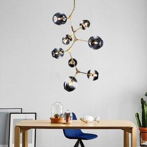 Image 5 - ポストモダン LED シャンデリアガラス吊り灯北欧サスペンション照明器具リビングルーム中断照明器具ペンダントランプ
