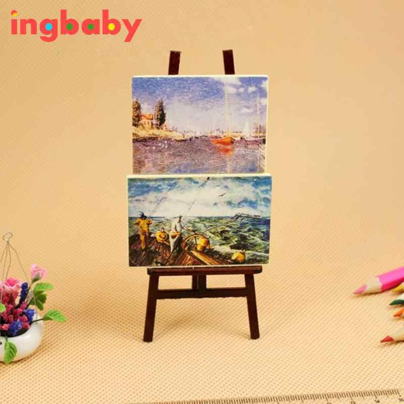 Dollhouse Mini Portrait Drawing Frame Simulation Doll House Accessories Drawing Board&2 Paintings Miniature Toy ingbaby WJ1120
