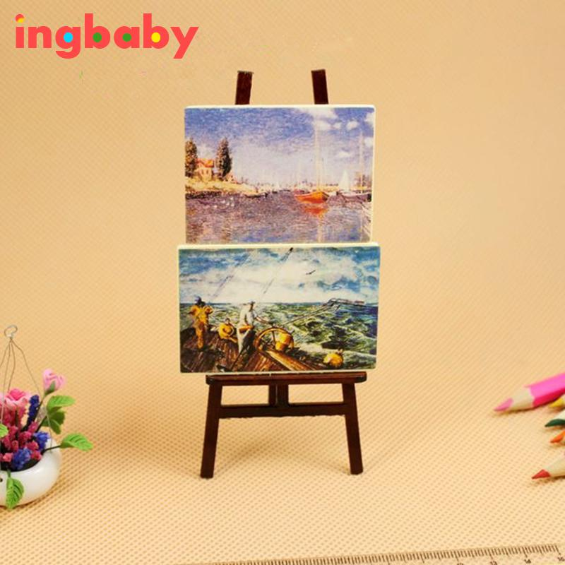 Dollhouse Mini Portrait Drawing Frame Simulation Doll House Accessories Drawing Board&2 Paintings Miniature Toy ingbaby WJ1120 image