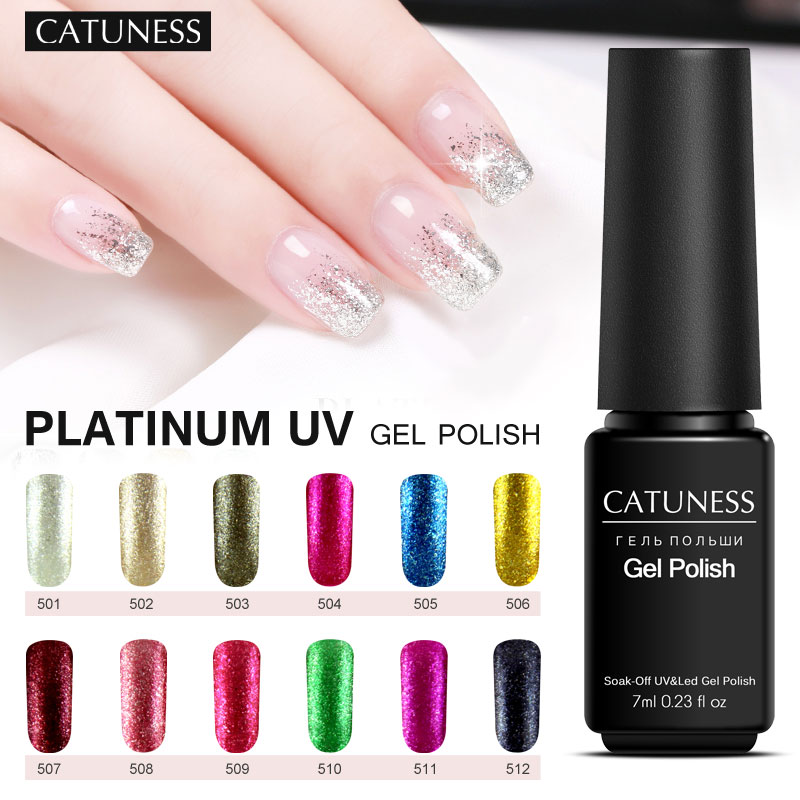 CATUNESS 7ml Shimmer Glitter Soak Off UV Gel Varnish Long Lasting Nail Polish Shine Platinum Art Charming Nail Lacquer