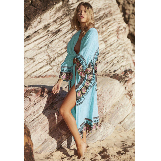 2b4a4d60759c2 New Arrivals Beach Cover up Floral Romantic Swimwear Ladies Pareo Beach  Cape Sun Bath Beach Wear Dress Chiffon Swimwear
