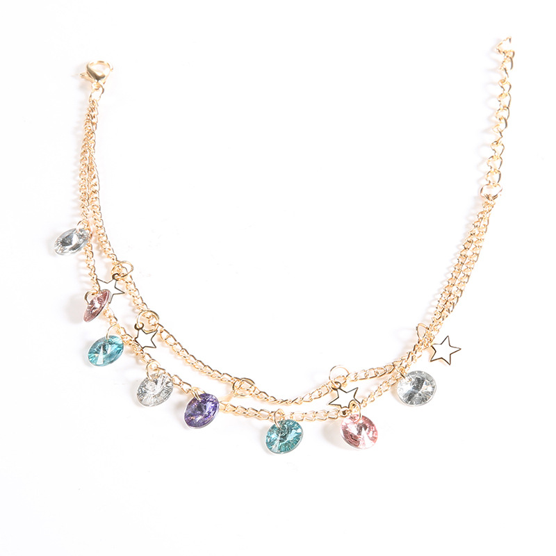 JCYMONG New Double Layer Gold Color Chain Star Anklets For Women Shining Crystal Ankle Bracelet on Leg 2019 Beach Foot Jewelry