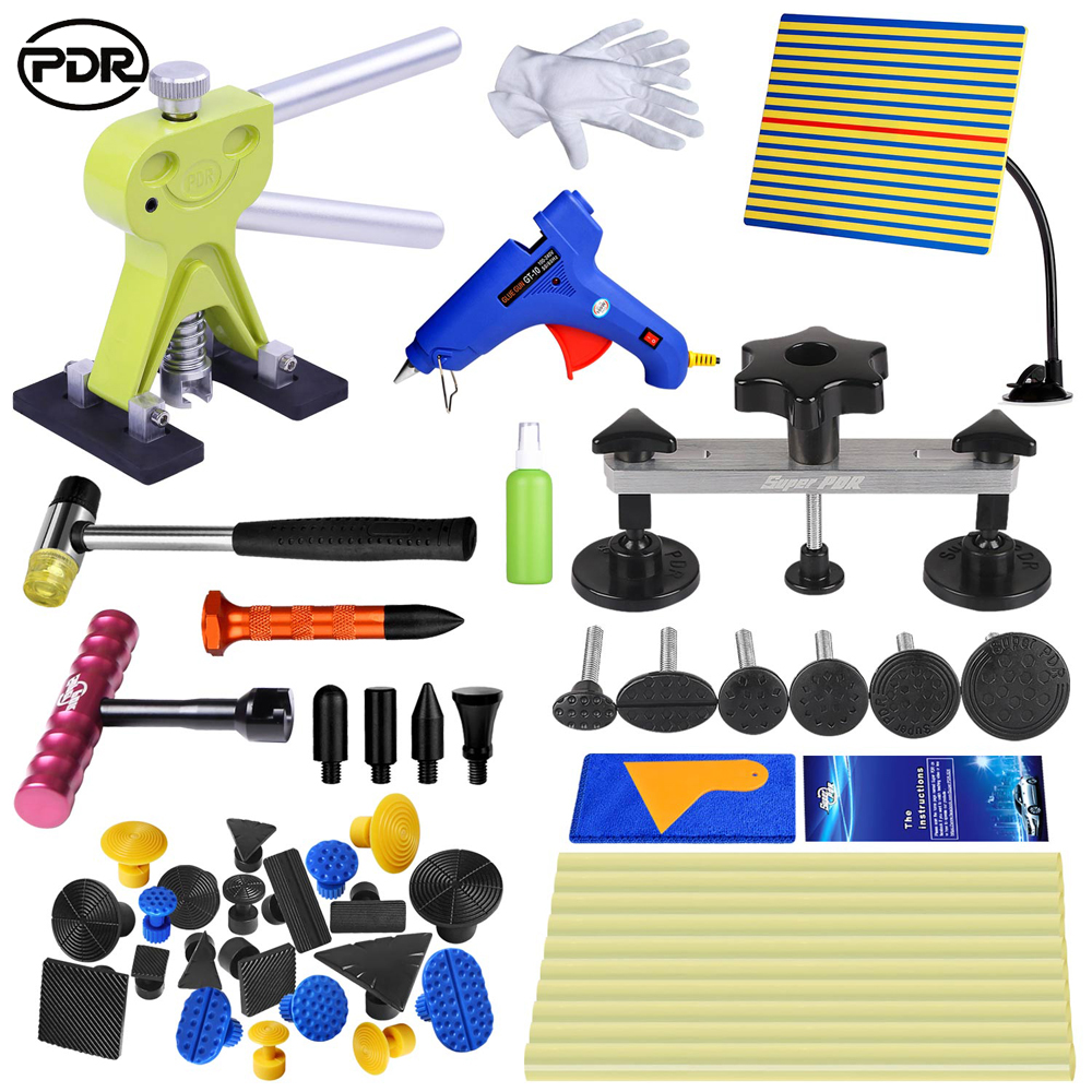 PDR Tools Kit Car Dent Removal Paintless Dent Repair Tools dent Reflector Pulling Bridge Dent Lifter Glue Tabs Hand Tools Set dent pulling bits straight