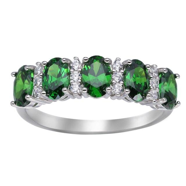 Стерлингового Серебра 925 Изумрудный Зеленый Природный Камень Кольцо