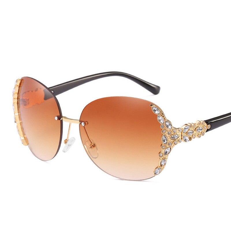 Brand Luxury Rimless Sunglasses Women 2019 Fashion Oversized Diamond Sun Glasses Woman Vintage Mirror Ladies Shades UV400 Oculos in Women 39 s Sunglasses from Apparel Accessories