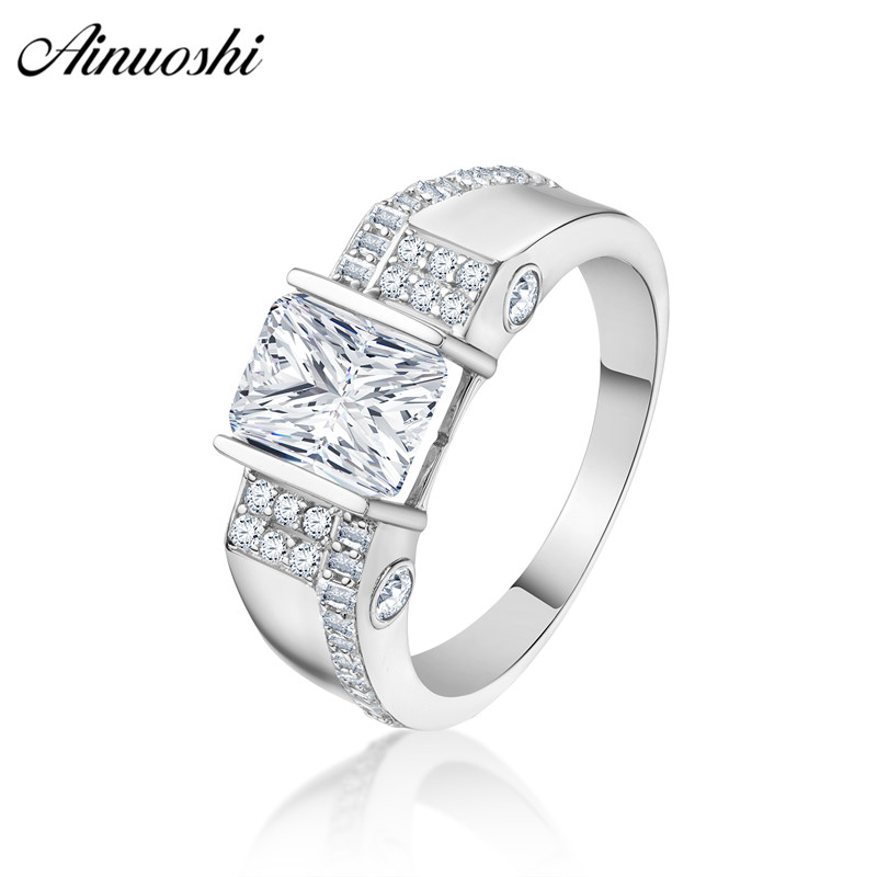 AINOUSHI Classic 925 Sterling Silver Men Wedding Engagement Rings 2 5 Carat Rectangle Cut Male Silver