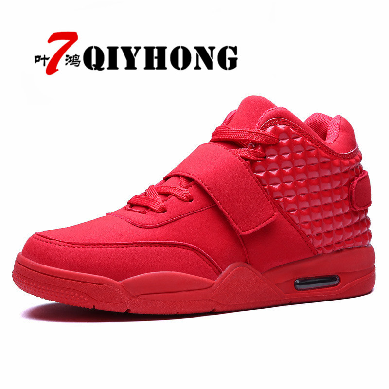QIYHONG New Fashion Spring/Autumn Men Casual Shoes Lovers Shoes Red Faux Suede Men Lady High-Top Shoes Breathable Flat Shoes 2016 spring and summer free shipping red new fashion design shoes african women print rt 3