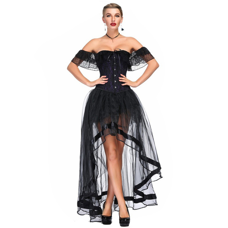 Sladuo Retro Women Off Shoulder Foral Lace Overbust Corset Skirts Sexy Costume Steampunk Gothic Corset Dress