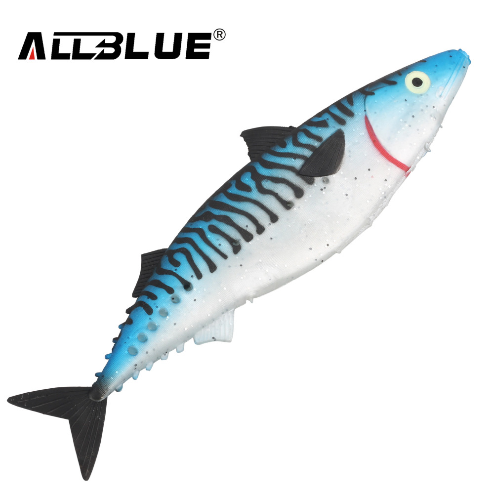 ALLBLUE Ocean Boat Fishing Lure 28cm Spanish Mackerel Big Game Rubber Soft Lure Coat Fishing Tackle