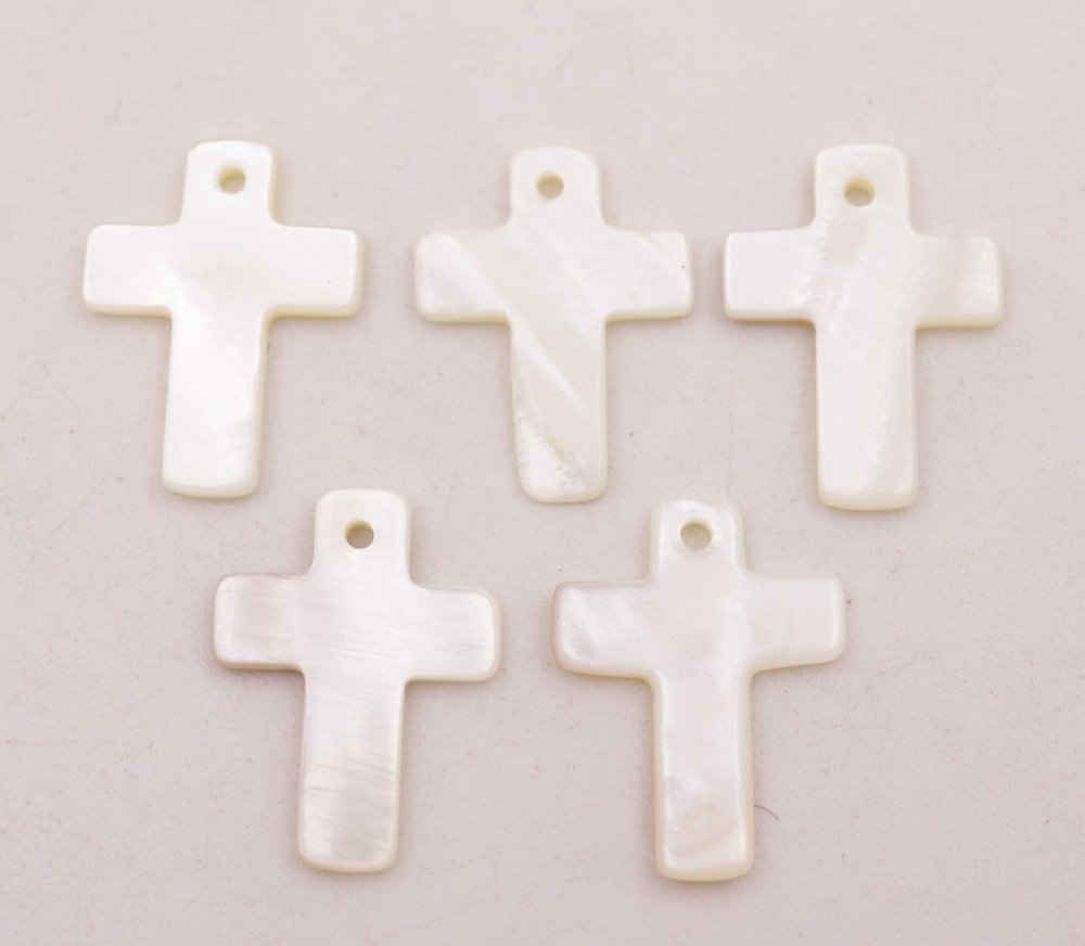 Купить с кэшбэком 5 PCS Cross Shell Charms Pendant Natural White Mother of Pearl 17mmX22mm