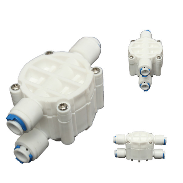 high quality 4 way 1 4 port auto shut off valve for ro reverse osmosis water filter system us277. Black Bedroom Furniture Sets. Home Design Ideas
