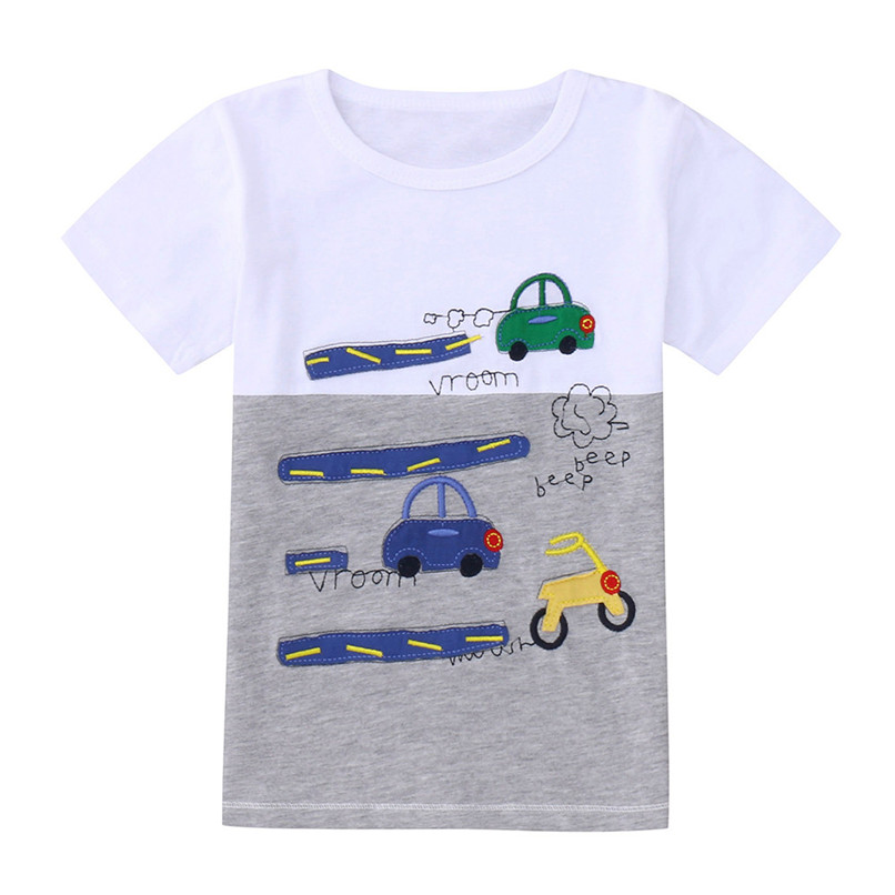 Summer Baby Boy Tops And Tees Toddler Children Kids Boy Short Sleeve Cartoon Print Top T-shirt Baby Boy Clothes Clothing JE08#F cotton bull and letters print round neck short sleeve t shirt