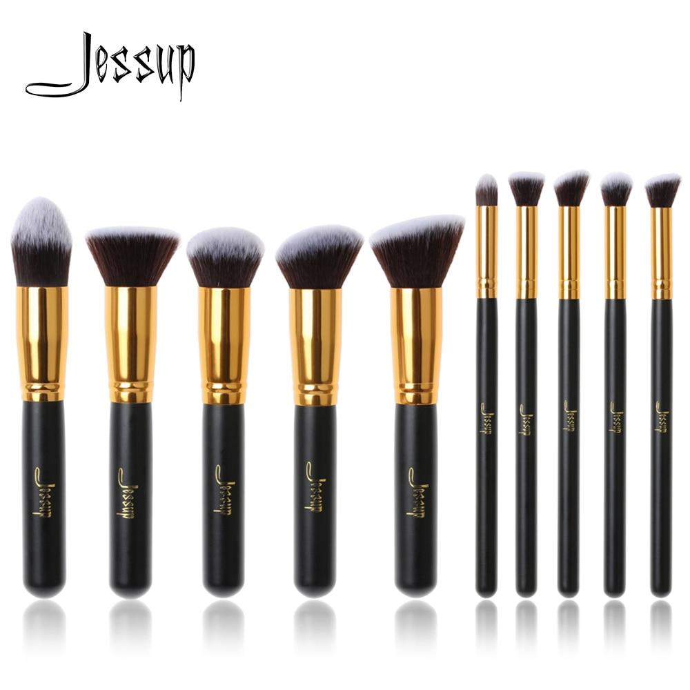 Jessup Brand 10pcs Black/Gold Makeup Brushes brushes Beauty Foundation Kabuki Cosmetics sets Makeup brush set blush Kit Tools-in Eye Shadow Applicator from Beauty & Health